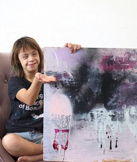 "Sevy Marie Art painting named ""The Dark Knight"""