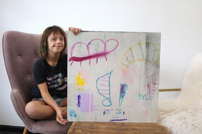 "Sevy Marie Art painting named ""The Furry Caterpillar Makes a Friend"""